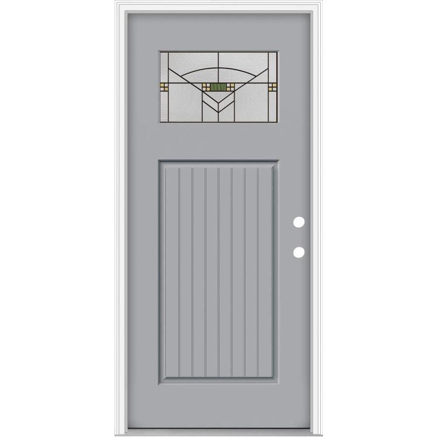 Perfect JELD WEN Decorative Glass Left Hand Inswing Infinity Grey Painted  Fiberglass Prehung Entry Door