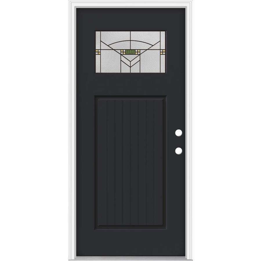 Shop Jeld Wen Decorative Glass Left Hand Inswing Peppercorn Painted Fiberglass Prehung Entry