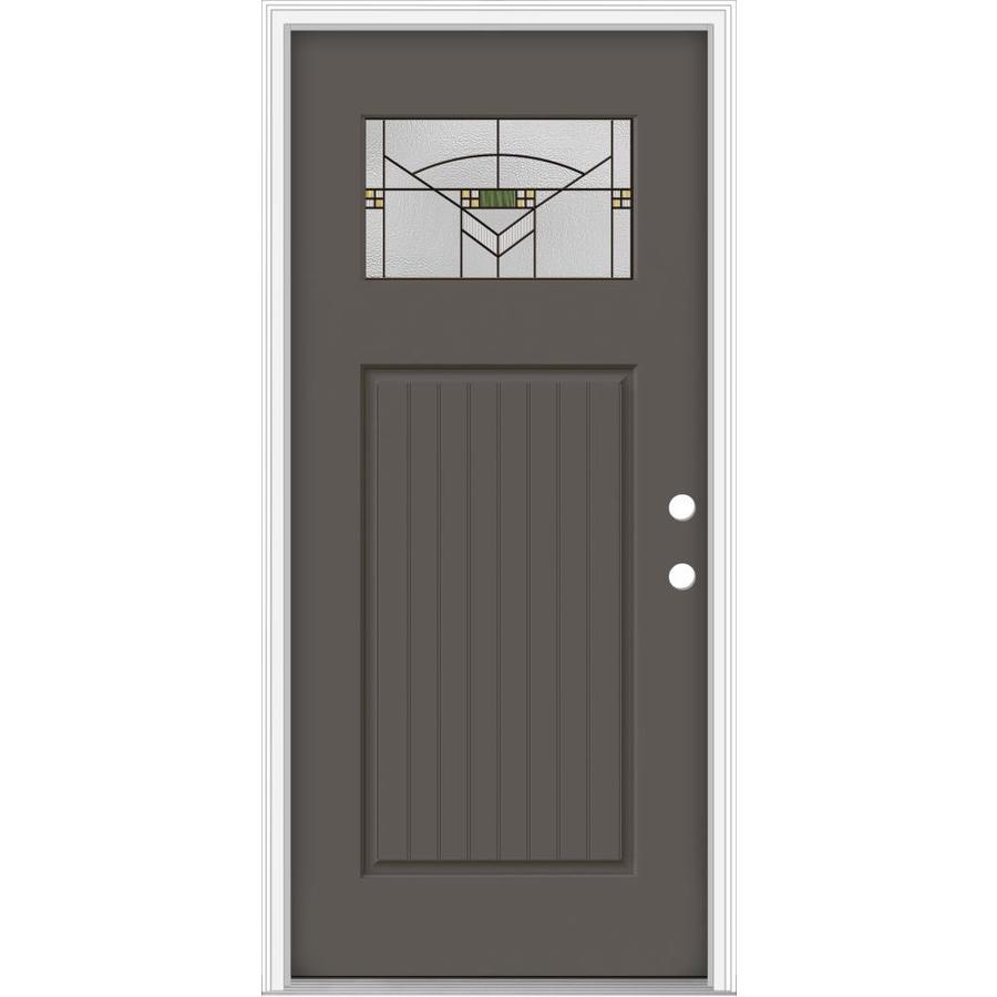 Shop jeld wen decorative glass left hand inswing timber for Jeld wen architectural fiberglass door