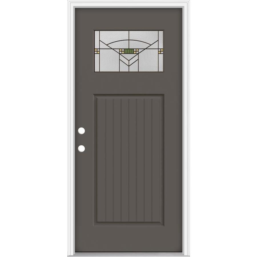 Shop Jeld Wen Decorative Glass Right Hand Inswing Timber Gray Painted Fiberglass Prehung Entry