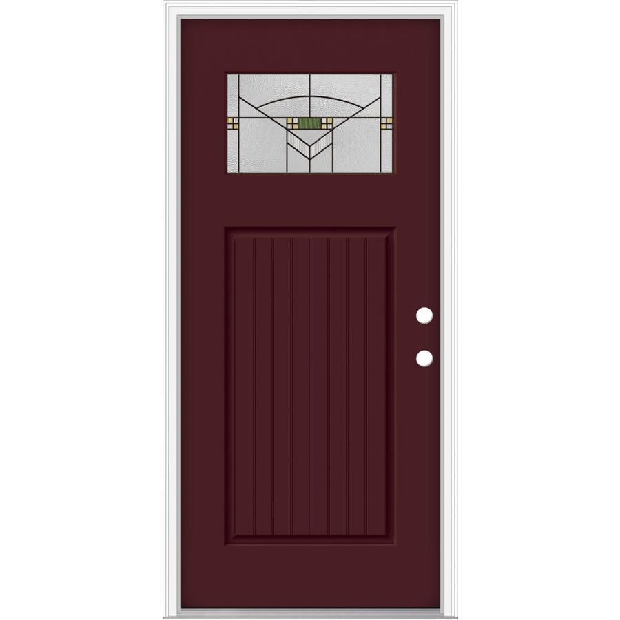 Shop jeld wen decorative glass left hand inswing currant for Jeld wen architectural fiberglass door
