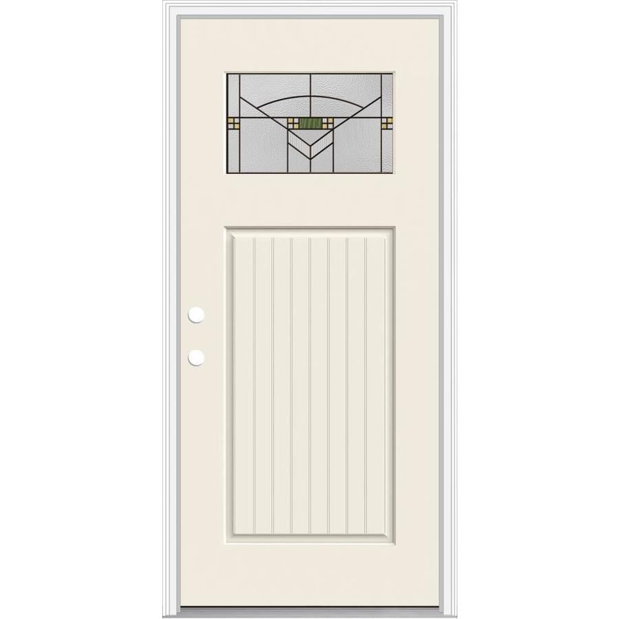 JELD-WEN Decorative Glass Right-Hand Inswing Primed Fiberglass Prehung Entry Door with Insulating Core (Common: 36-in x 80-in; Actual: 37.93-in x 82.5-in)