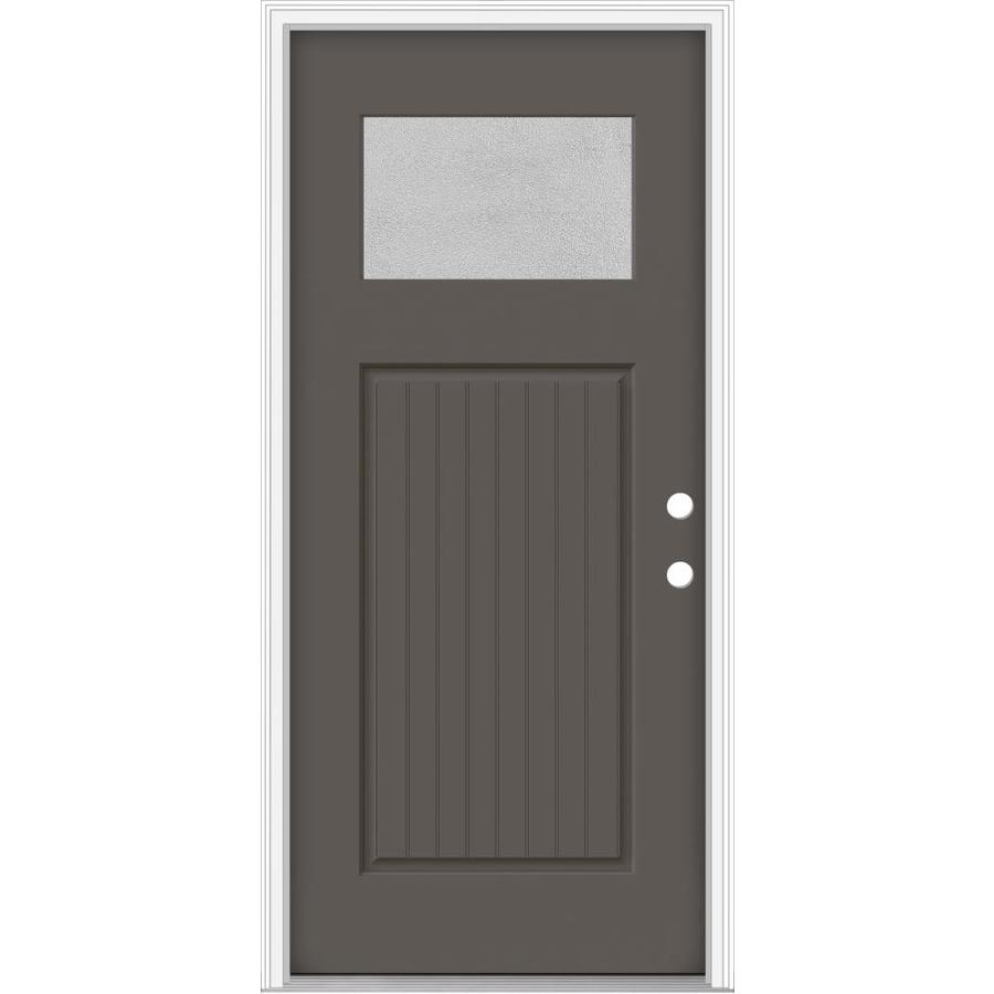 Shop Jeld Wen Decorative Glass Left Hand Inswing Timber Gray Painted Fiberglass Prehung Entry