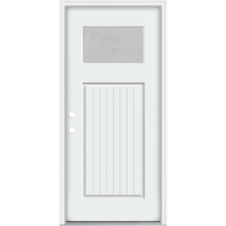 JELD-WEN Decorative Glass Right-Hand Inswing Modern White Painted Fiberglass Prehung Entry Door with Insulating Core (Common: 32-in x 80-in; Actual: 33.93-in x 82.5-in)