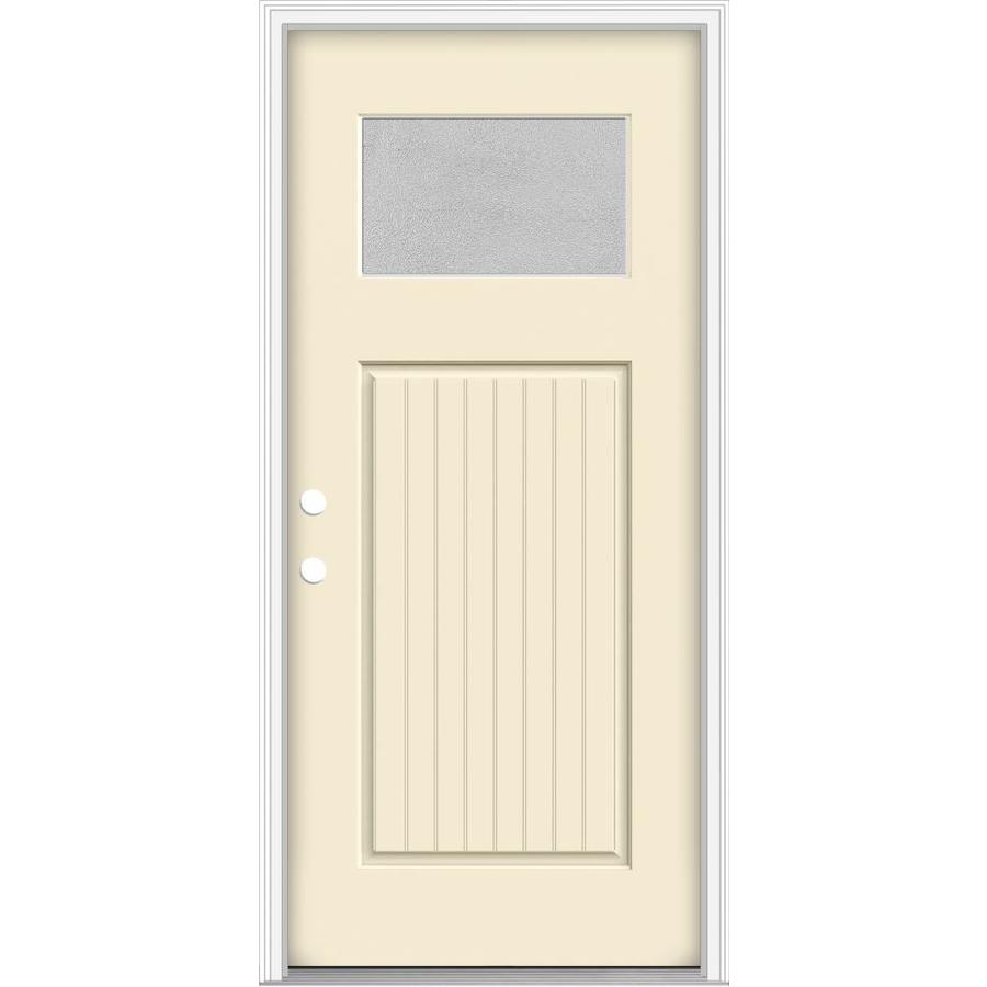 Marvelous JELD WEN Decorative Glass Right Hand Inswing Bisque Painted Fiberglass  Prehung Entry Door With