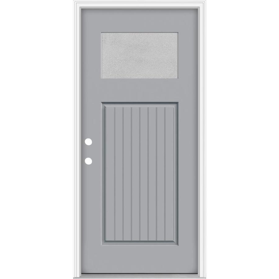 JELD-WEN Decorative Glass Right-Hand Inswing Infinity Grey Painted Fiberglass Prehung Entry Door with Insulating Core (Common: 32-in x 80-in; Actual: 33.93-in x 82.5-in)