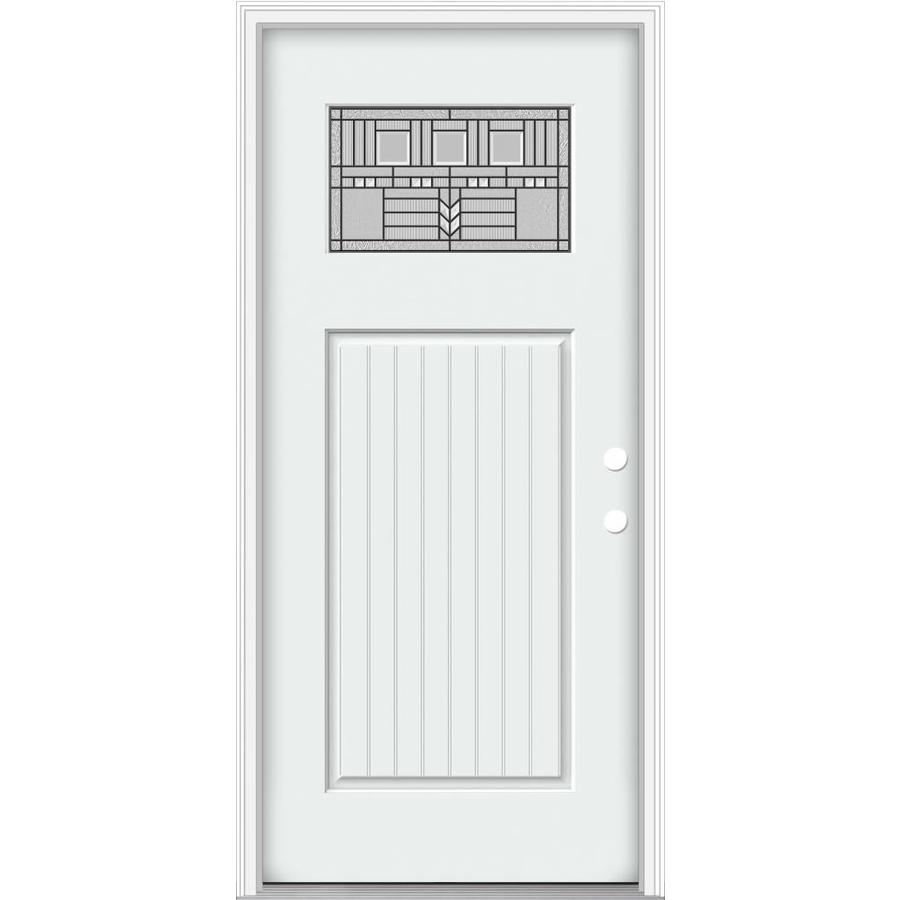 JELD-WEN Decorative Glass Left-Hand Inswing Modern White Painted Fiberglass Prehung Entry Door with Insulating Core (Common: 32-in x 80-in; Actual: 33.93-in x 82.5-in)