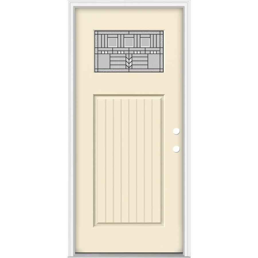 JELD-WEN Decorative Glass Left-Hand Inswing Bisque Painted Fiberglass Prehung Entry Door with Insulating Core (Common: 32-in x 80-in; Actual: 33.93-in x 82.5-in)