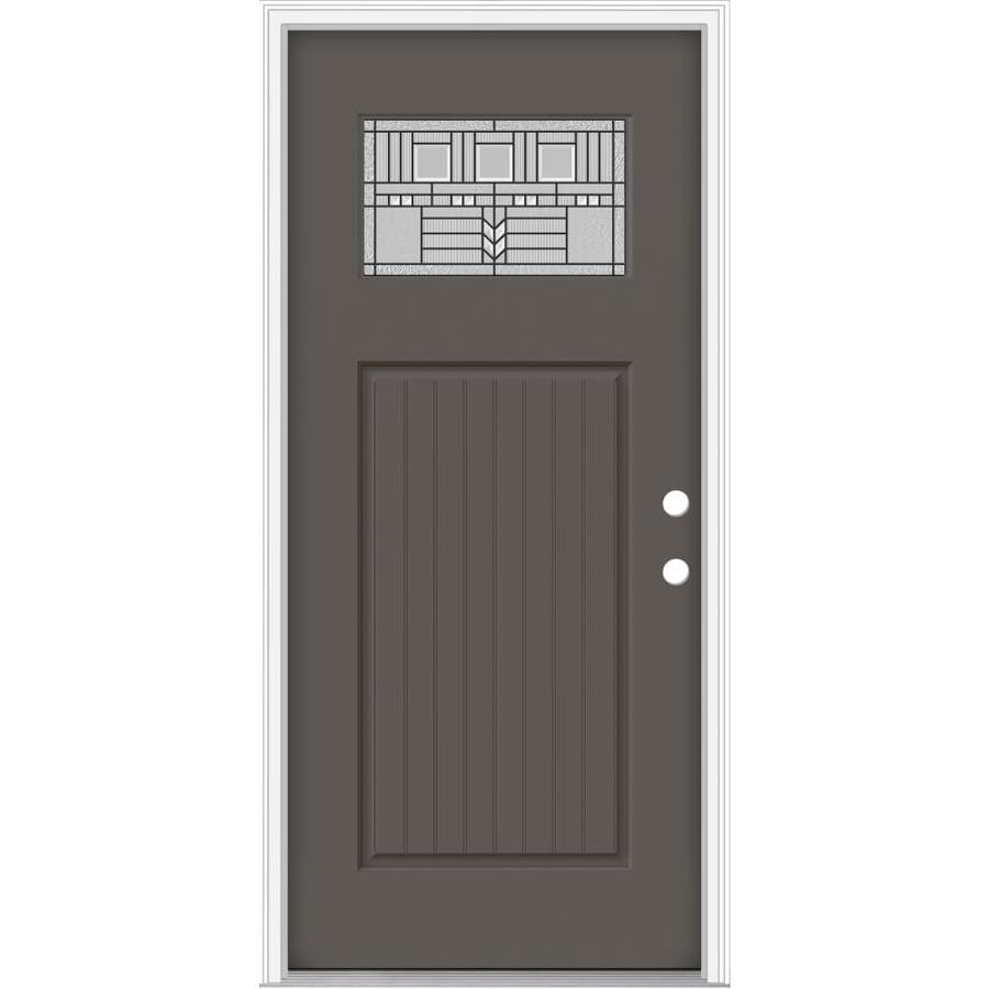 JELD-WEN Decorative Glass Left-Hand Inswing Timber Gray Painted Fiberglass Prehung Entry Door with Insulating Core (Common: 32-in x 80-in; Actual: 33.93-in x 82.5-in)