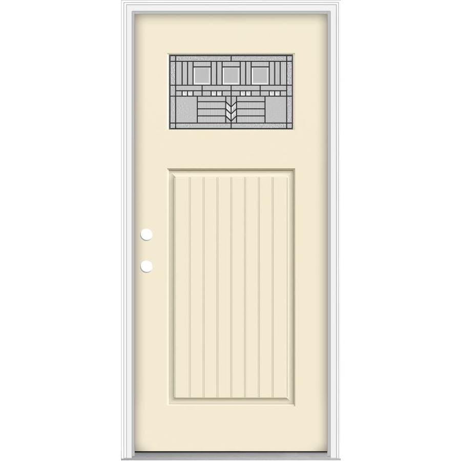 JELD-WEN Decorative Glass Right-Hand Inswing Bisque Painted Fiberglass Prehung Entry Door with Insulating Core (Common: 32-in x 80-in; Actual: 33.93-in x 82.5-in)