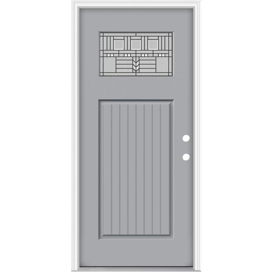 JELD-WEN Decorative Glass Left-Hand Inswing Infinity Grey Painted Fiberglass Prehung Entry Door with Insulating Core (Common: 36-in x 80-in; Actual: 37.93-in x 82.5-in)