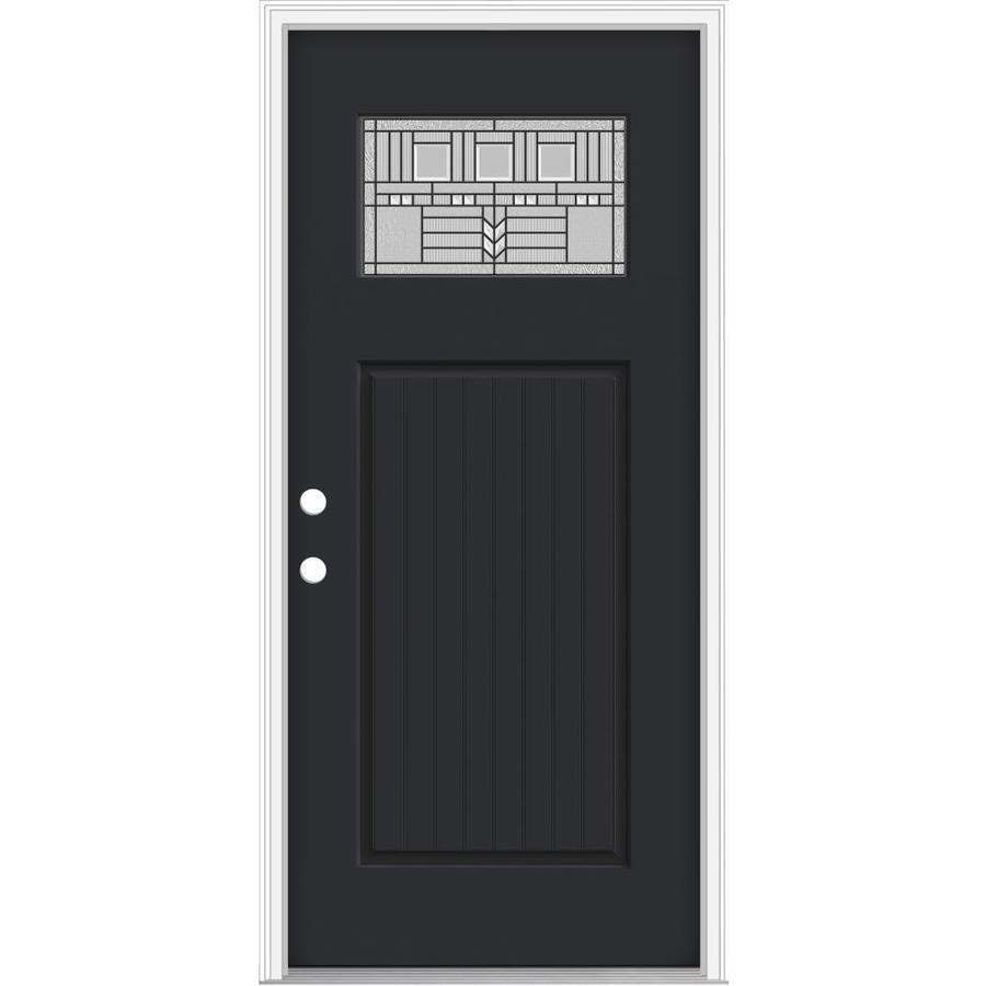 JELD-WEN Decorative Glass Right-Hand Inswing Peppercorn Painted Fiberglass Prehung Entry Door with Insulating Core (Common: 36-in x 80-in; Actual: 37.93-in x 82.5-in)
