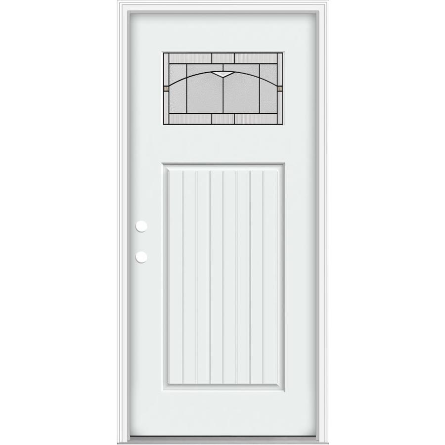 Shop Jeld Wen Decorative Glass Right Hand Inswing Modern White Painted Fiberglass Prehung Entry