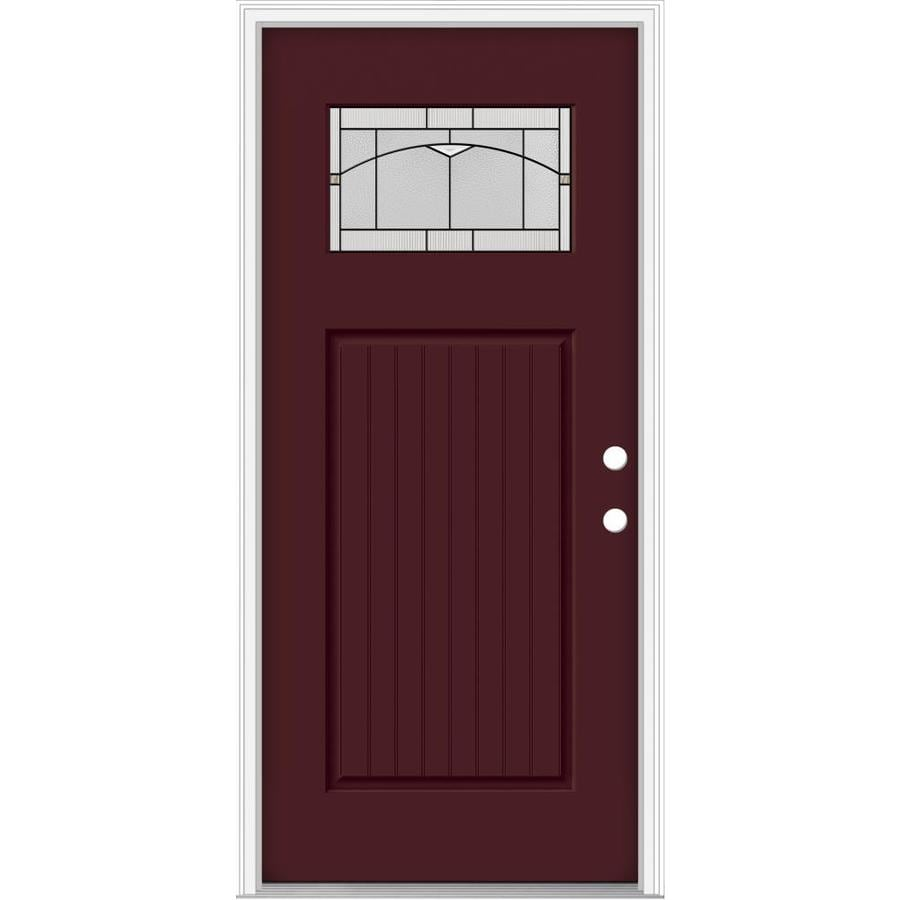JELD-WEN Decorative Glass Left-Hand Inswing Currant Painted Fiberglass Prehung Entry Door with Insulating Core (Common: 36-in x 80-in; Actual: 37.93-in x 82.5-in)