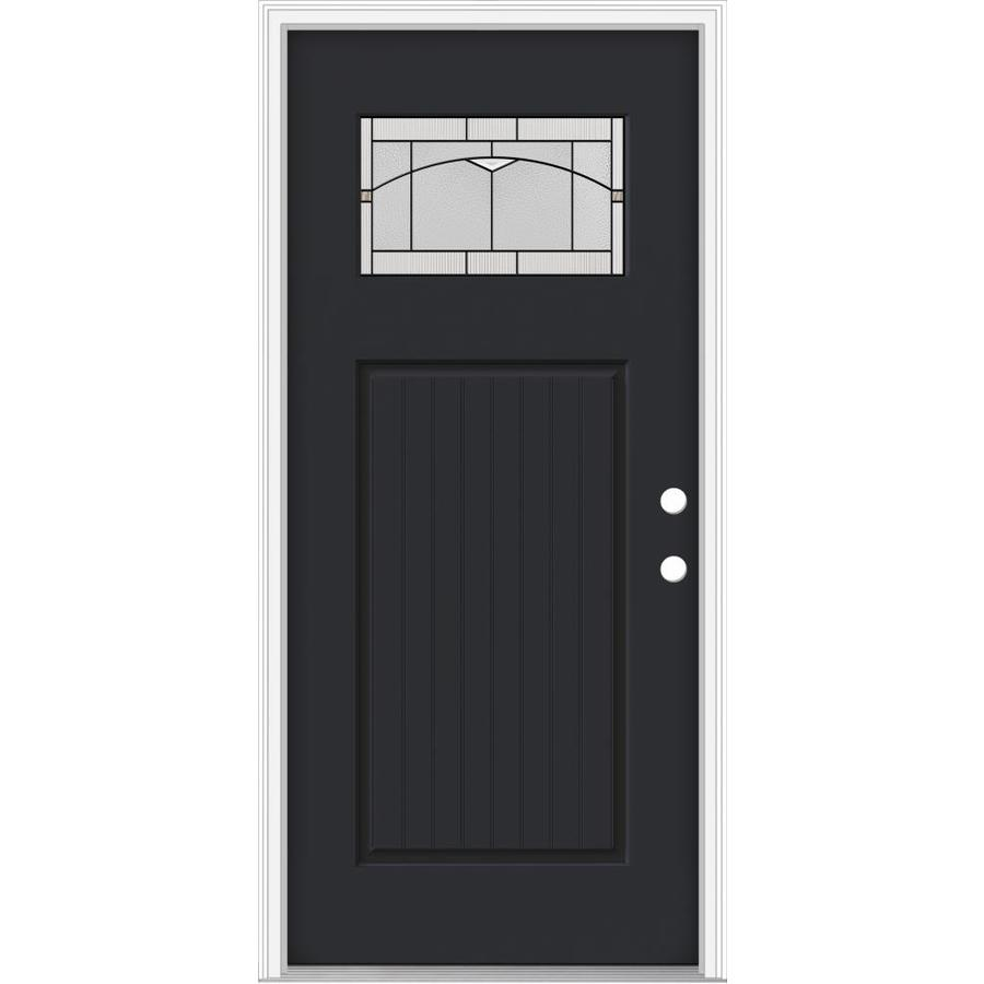 JELD-WEN Decorative Glass Left-Hand Inswing Peppercorn Painted Fiberglass Prehung Entry Door with Insulating Core (Common: 36-in x 80-in; Actual: 37.93-in x 82.5-in)