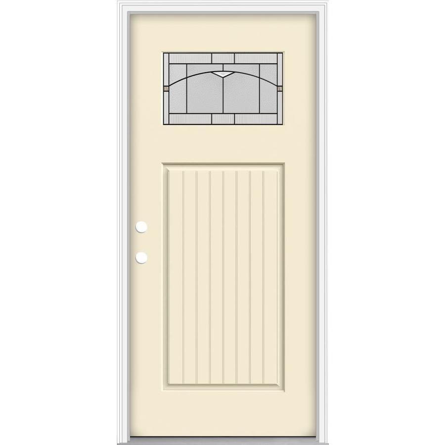 Shop jeld wen decorative glass right hand inswing bisque for Jeld wen architectural fiberglass door