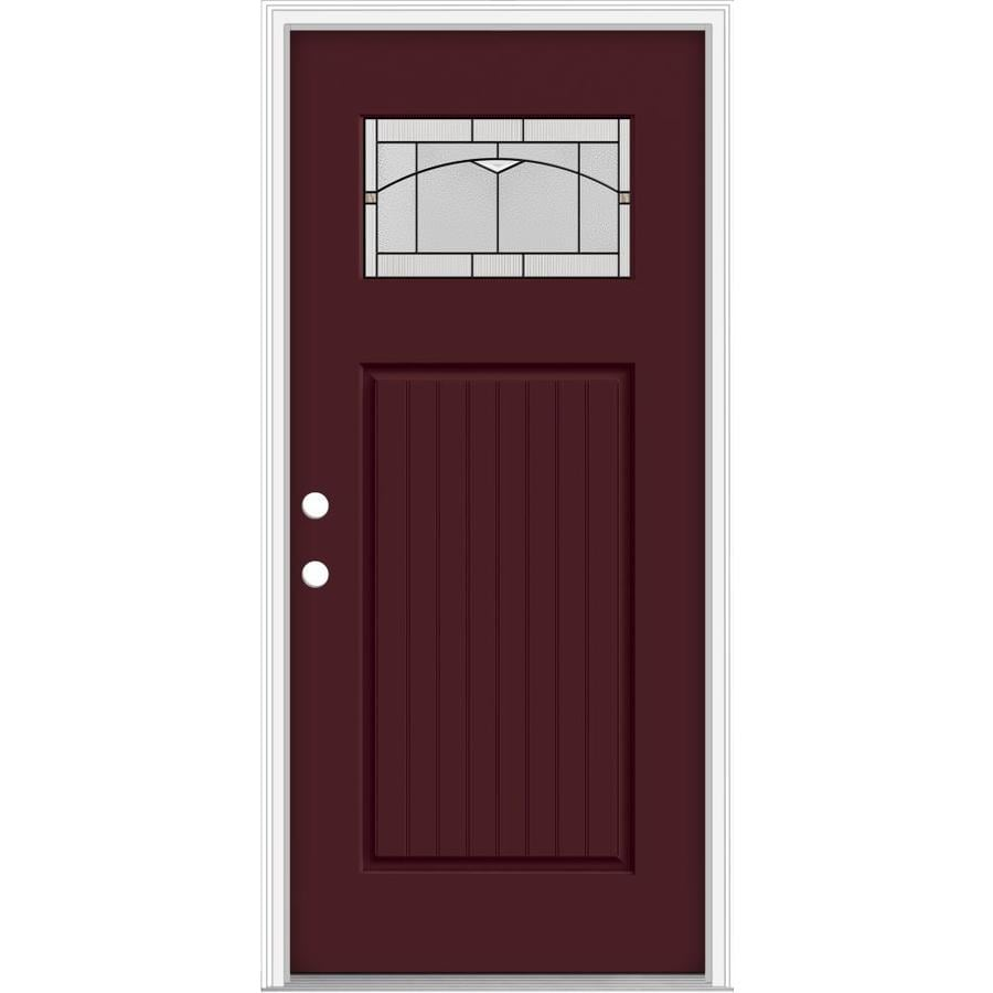 JELD-WEN Decorative Glass Right-Hand Inswing Currant Painted Fiberglass Prehung Entry Door with Insulating Core (Common: 36-in x 80-in; Actual: 37.93-in x 82.5-in)