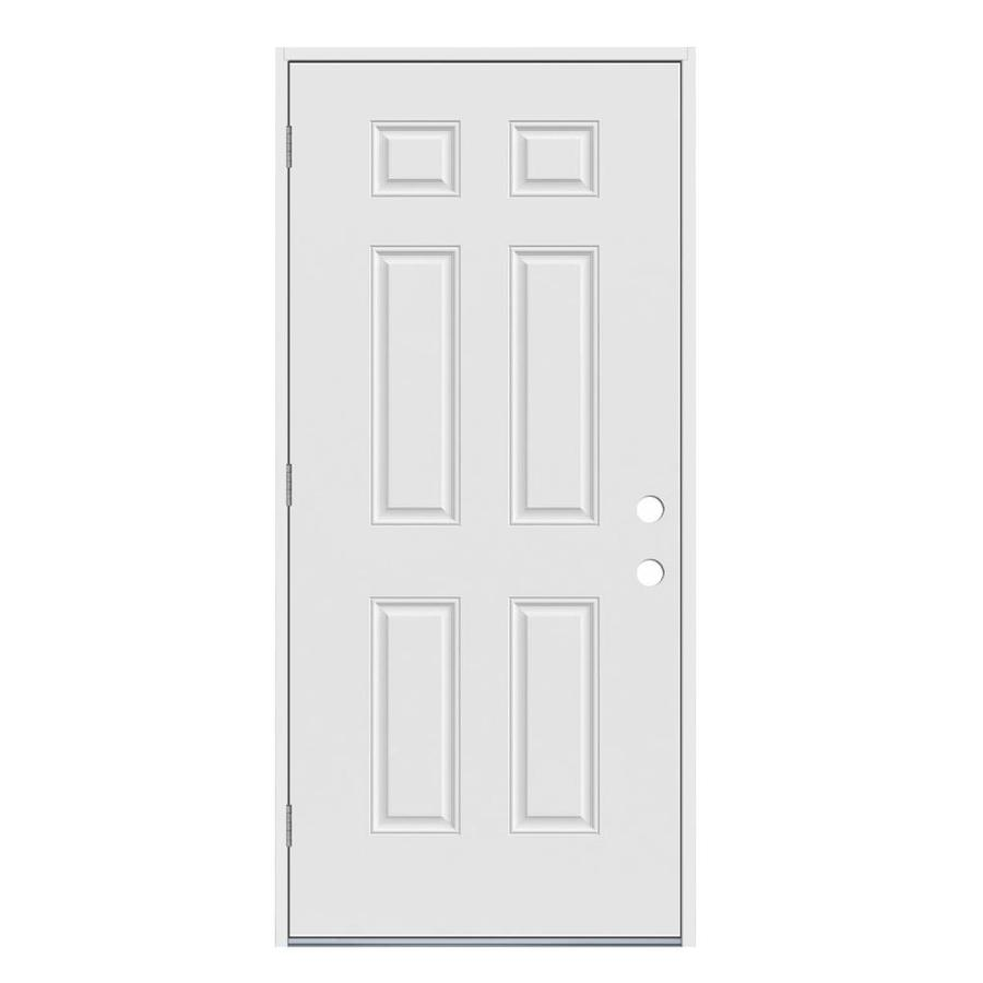 Jeld wen right hand outswing primed steel prehung entry - Right hand outswing exterior door ...