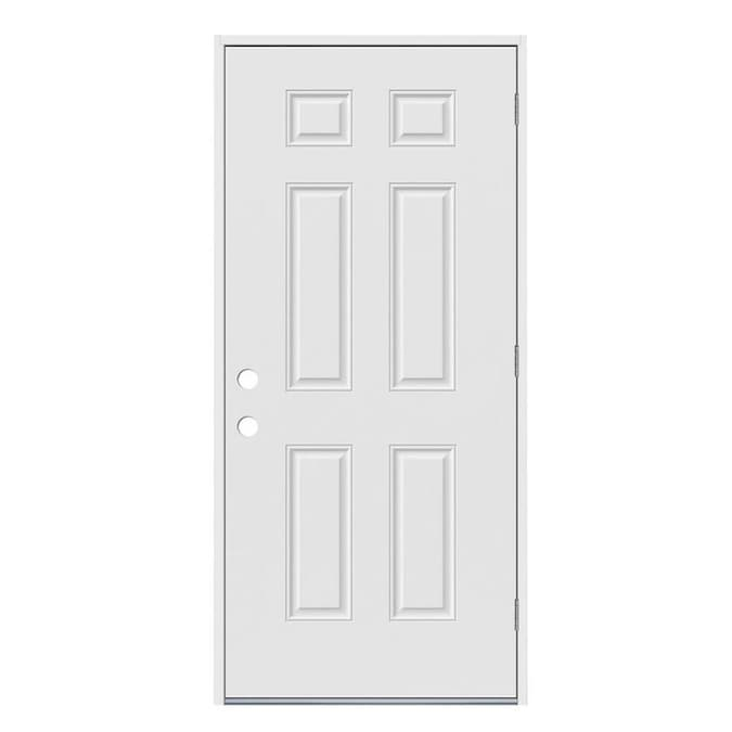 Jeld Wen 30 In X 80 In Steel Left Hand Outswing Primed Prehung Single Front Door In The Front Doors Department At Lowes Com When i purchased doors (interior) at lowes thay still have the brass hinges and noone is using the brass doorknobs anymore, usually brushed. jeld wen 30 in x 80 in steel left hand outswing primed prehung single front door