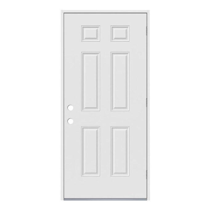 Jeld Wen 36 In X 80 In Steel Left Hand Outswing Primed Prehung Single Front Door In The Front Doors Department At Lowes Com