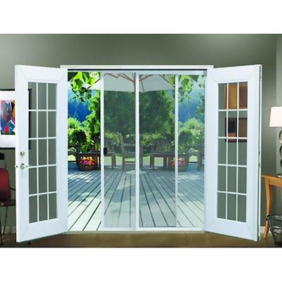 JELD-WEN 72-in x 80-in White Aluminum Frame Sliding French Door Screen Door