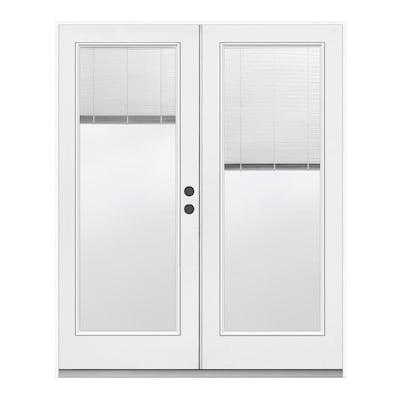 French Door Blinds Lowes.Tempered Blinds Between The Glass Primed Steel Left Hand Outswing Prehung Double Door French Patio Door Common 72 In X 80 In Actual 71 5 In X