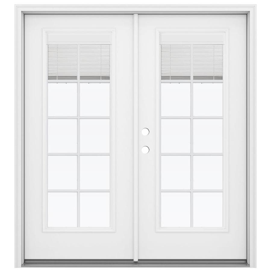 Jeld Wen Blinds Between The Glass Primed Steel Right Hand Inswing Double Door French Patio Door Common 72 In X 80 In Actual 71 5 In X 79 5625