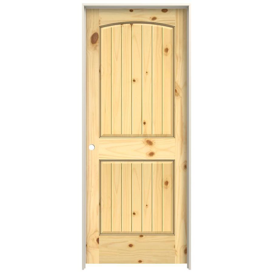 Jeld Wen 0028v Unfinished 2 Panel Round Top Plank Wood