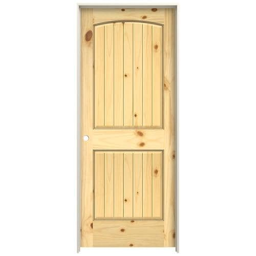 Interior Detailing Near Me >> JELD-WEN 0028v Unfinished 2-Panel Round Top Plank Wood Knotty Pine Pre-Hung Door (Common: 32-in ...