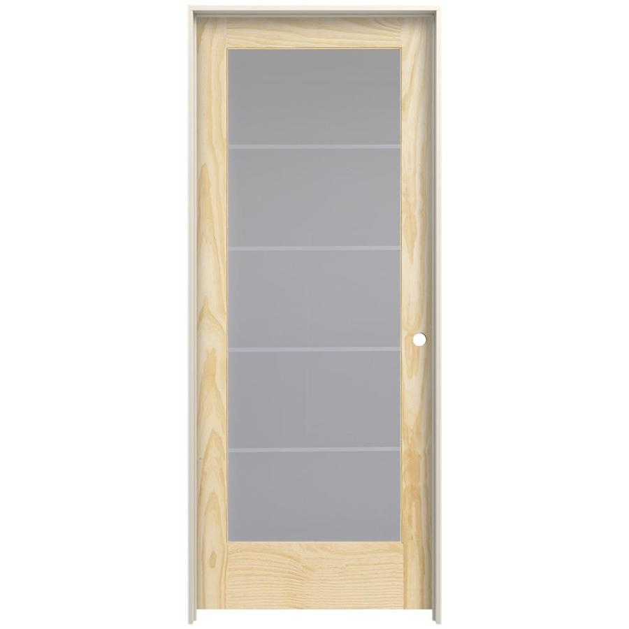 JELD WEN 1501 Strada Unfinished Frosted Glass Wood Pine Single Prehung Door  (Common: 32 In X 80 In; Actual: 33.562 In X 81.688 In)