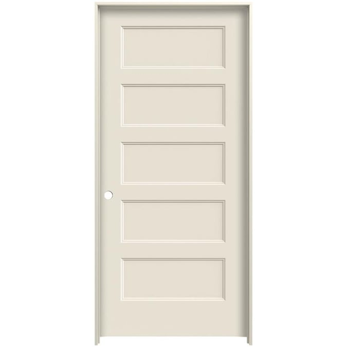 Jeld Wen Conmore 32 In X 80 In Primed 5 Panel Equal Hollow Core Primed Molded Composite Right Hand Single Prehung Interior Door In The Prehung Interior Doors Department At Lowes Com