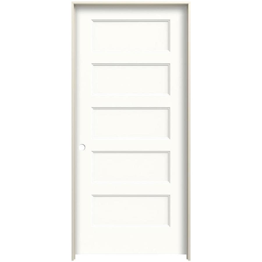 Jeld Wen Conmore 32 In X 80 In Snow Storm 5 Panel Equal Hollow Core Prefinished Molded Composite Right Hand Single Prehung Interior Door In The Prehung Interior Doors Department At Lowes Com