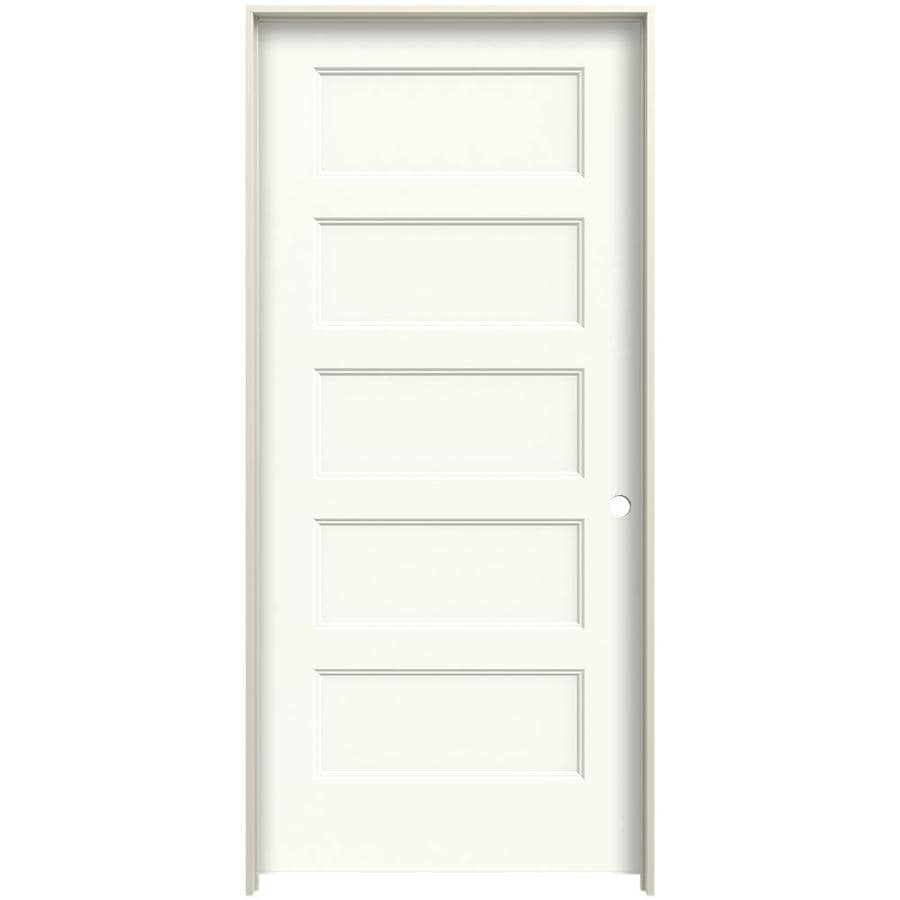 Jeld Wen Conmore 32 In X 80 In White 5 Panel Equal Hollow Core Prefinished Molded Composite Left Hand Single Prehung Interior Door In The Prehung Interior Doors Department At Lowes Com