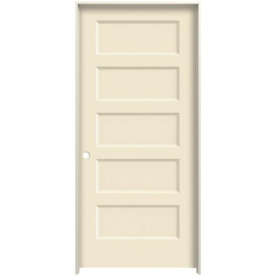 Jeld Wen Conmore 36 In X 80 In Cream N Sugar 5 Panel Equal Hollow Core Prefinished Molded Composite Right Hand Single Prehung Interior Door In The Prehung Interior Doors Department At Lowes Com
