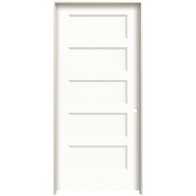 Jeld Wen Conmore 32 In X 80 In Snow Storm 5 Panel Equal Solid Core Prefinished Molded Composite Left Hand Single Prehung Interior Door In The Prehung Interior Doors Department At Lowes Com