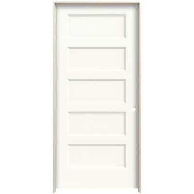 Jeld Wen Conmore 36 In X 80 In White 5 Panel Equal Solid Core Prefinished Molded Composite Left Hand Single Prehung Interior Door In The Prehung Interior Doors Department At Lowes Com