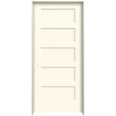Jeld Wen Conmore 36 In X 80 In Moonglow 5 Panel Equal Solid Core Prefinished Molded Composite Right Hand Single Prehung Interior Door In The Prehung Interior Doors Department At Lowes Com