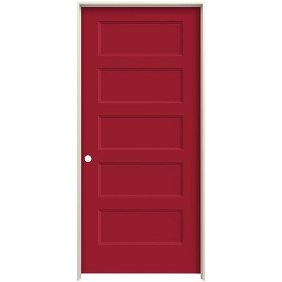 Jeld Wen Conmore Barn Red 5 Panel Flat Solid Core Molded
