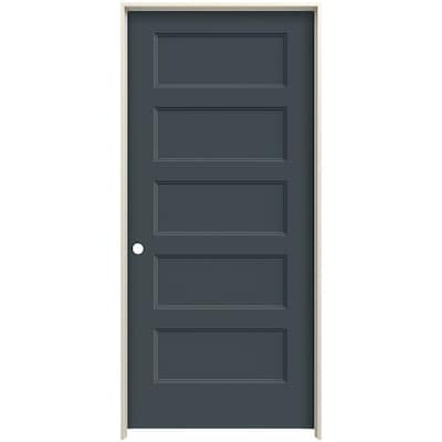 Jeld Wen Conmore 36 In X 80 In Slate 5 Panel Equal Solid Core Prefinished Molded Composite Right Hand Single Prehung Interior Door In The Prehung Interior Doors Department At Lowes Com