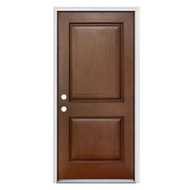 JELD WEN Right Hand Inswing Antique Caramel Stained Fiberglass Prehung Entry  Door With Insulating