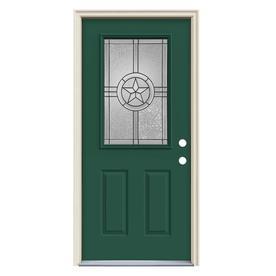 Jeld Wen Radiant Star Decorative Gl Evergreen Steel Pine Painted Entry Door Common