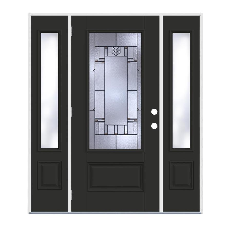 Jeld wen leighton 3 4 lite decorative glass right hand - Jeld wen exterior doors with sidelights ...