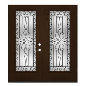JELD WEN Wyngate Full Lite Decorative Glass Right Hand Outswing Espresso  Painted Fiberglass Prehung