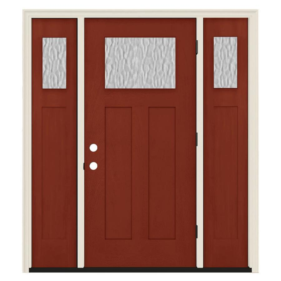 Jeld wen craftsman privacy glass left hand outswing black - Jeld wen exterior doors with sidelights ...