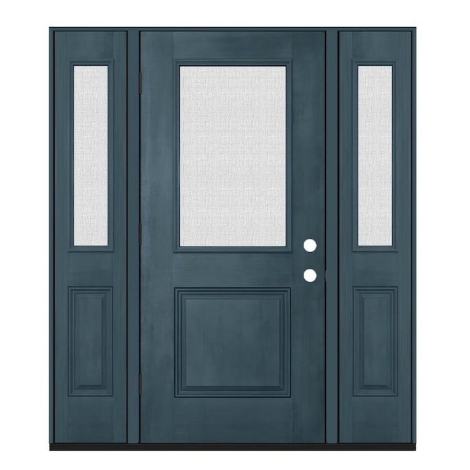 Jeld Wen 64 In X 80 In Fiberglass Half Lite Right Hand Outswing Denim Painted Prehung Single Front Door In The Front Doors Department At Lowes Com It makes a statement and sets the tone for the rest of the house. jeld wen 64 in x 80 in fiberglass half
