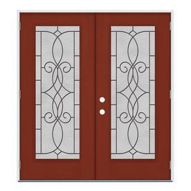 JELD WEN Decorative Glass Black Cherry Fiberglass Mahogany Stained Entry  Door (Common: 64.0