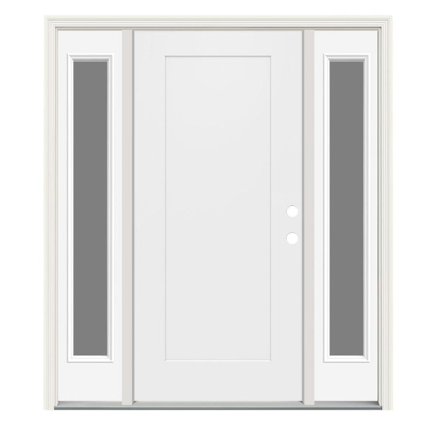 Jeld wen left hand inswing modern white painted steel - Jeld wen exterior doors with sidelights ...
