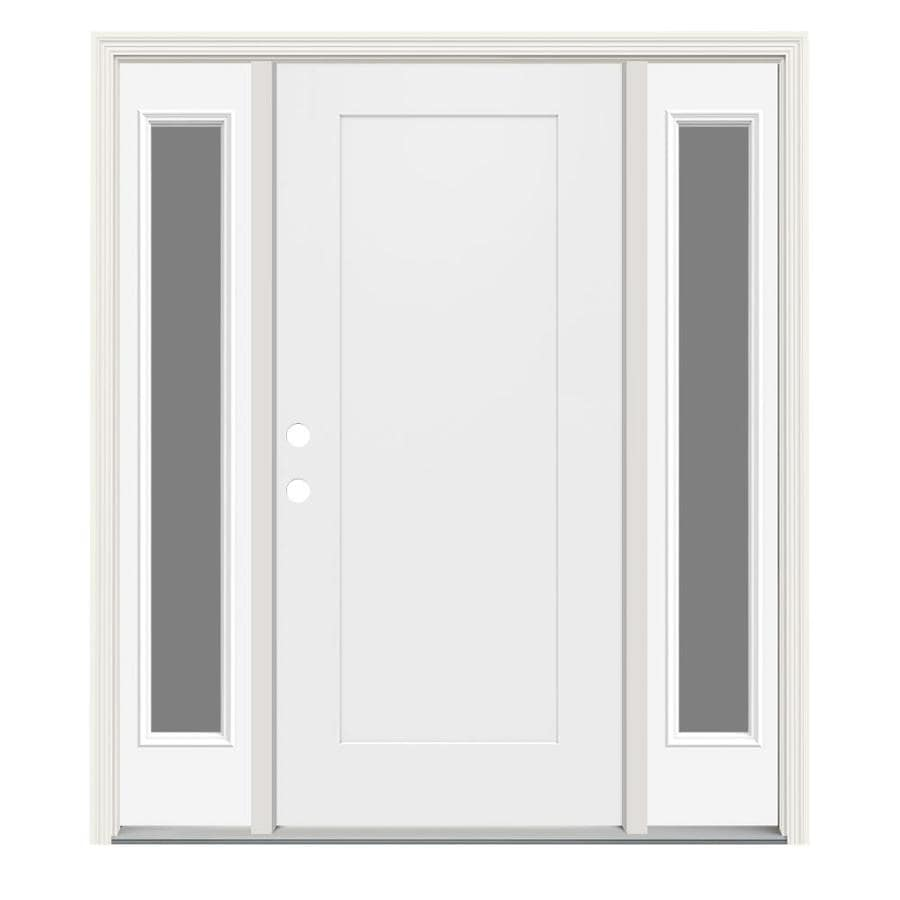 Jeld wen right hand inswing modern white painted steel - Jeld wen exterior doors with sidelights ...