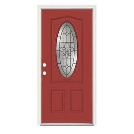 JELD WEN Nola Oval Lite Decorative Glass Right Hand Inswing Persimmon  Painted Steel Prehung