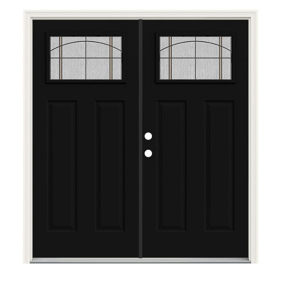 Jeld Wen 64 In X 80 In Steel Craftsman Right Hand Inswing Peppercorn Painted Prehung Double Front Door Brickmould Included In The Front Doors Department At Lowes Com Entry doors are the first thing people notice when they come to your home. lowe s